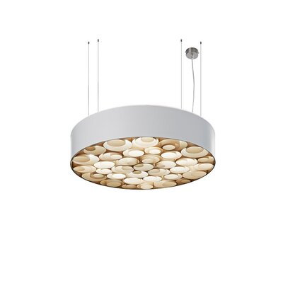 Spiro 4-Light Drum Pendant Shade Color: White, Interior Shade Color: Natural Beech, Ballast: Multivolt
