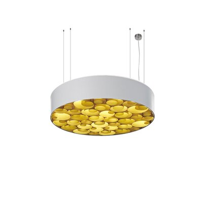 Spiro 4-Light Drum Pendant Shade Color: White, Interior Shade Color: Yellow, Ballast: Dimmable