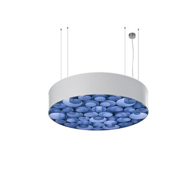 Spiro 4-Light Drum Pendant Shade Color: White, Interior Shade Color: Blue, Ballast: Multivolt