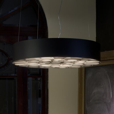 Spiro Drum Pendant Shade Color: Black, Interior Shade Color: Yellow, Voltage: Multivolt
