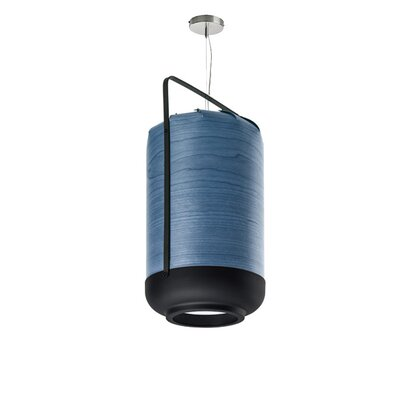 Chou 1-Light Pendant Finish: Blue, Size: Medium, Bulb Type: GU24 Base