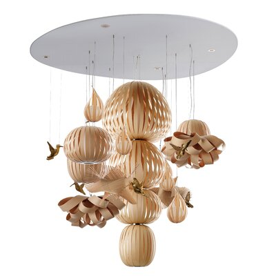 Candelabro Waterfall Chandelier Finish: Natural Beech, Bird Finish: White
