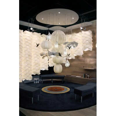 Candelabro Waterfall Chandelier Finish: Ivory White, Bird Finish: Gold