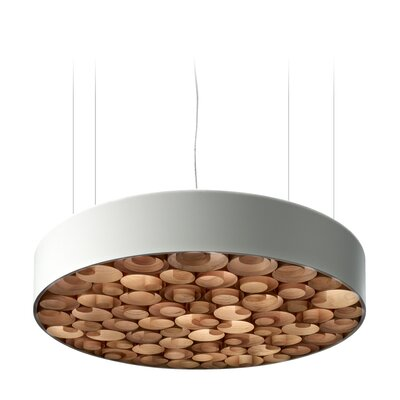 Spiro 9-Light LED Drum Pendant Shade Color: Natural Cherry