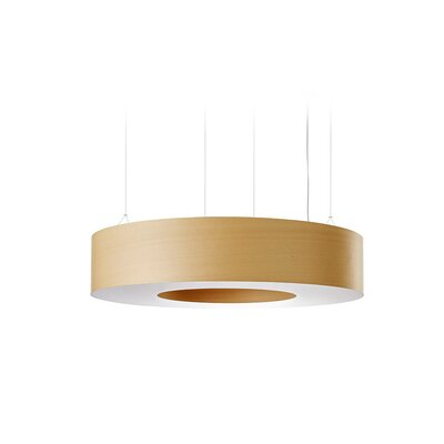 Saturnia 9 LED Integrated Bulb Drum Pendant Shade Color: Natural Beech