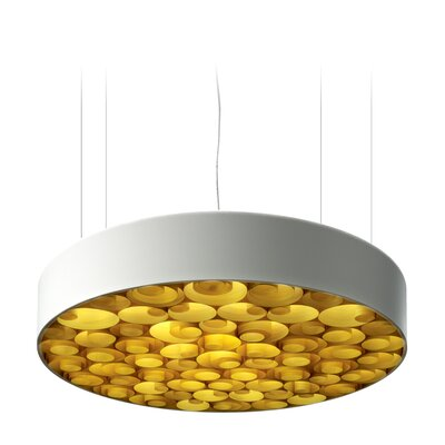 Spiro 9 LED Integrated Bulb Drum Pendant Shade Color: Yellow