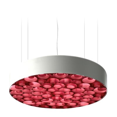 Spiro 9 LED Integrated Bulb Drum Pendant Shade Color: Red