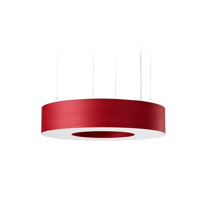 Saturnia 9 LED Integrated Bulb Drum Pendant Shade Color: Red