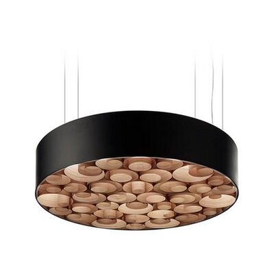 Spiro 10 LED Integrated Bulb Drum Pendant Shade Color: Natural Cherry