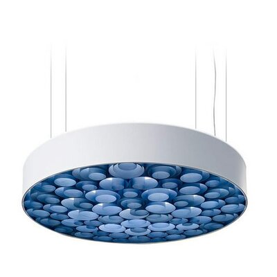 Spiro 9 LED Integrated Bulb Drum Pendant Shade Color: Blue