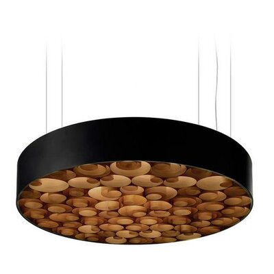 Spiro 9 LED Integrated Bulb Drum Pendant Shade Color: Chocolate