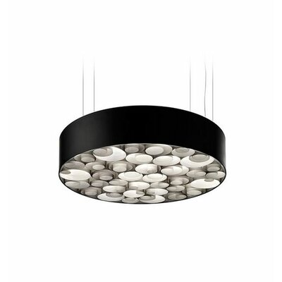 Spiro 10 LED Integrated Bulb Drum Pendant Shade Color: Grey
