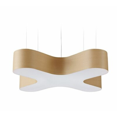X-Club 4-Light LED Geometric Pendant Shade Color: Natural Beech