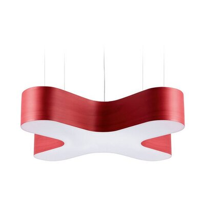 X-Club 4-Light LED Geometric Pendant Shade Color: Red
