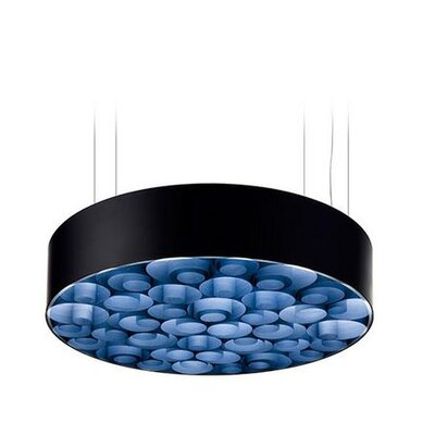 Spiro 10 LED Integrated Bulb Drum Pendant Shade Color: Blue