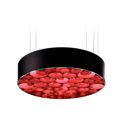 Spiro 10 LED Integrated Bulb Drum Pendant Shade Color: Red