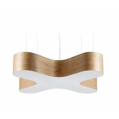 X-Club 4-Light LED Geometric Pendant Shade Color: Natural Cherry