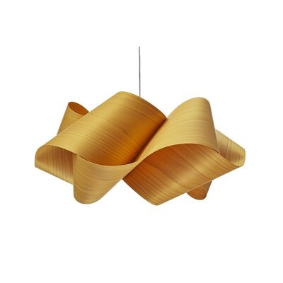Swirl 1-Light Geometric Pendant Finish: Satin Gold, Shade Color: Natural Cherry