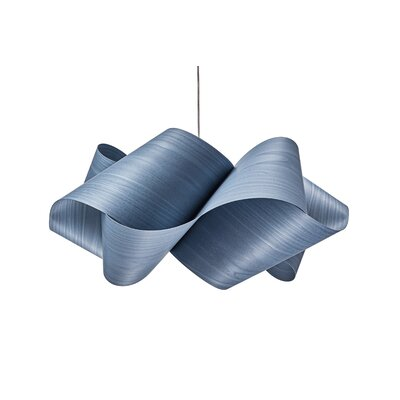 Swirl 1-Light Pendant Shade Color: Blue, Finish: Brushed Nickel
