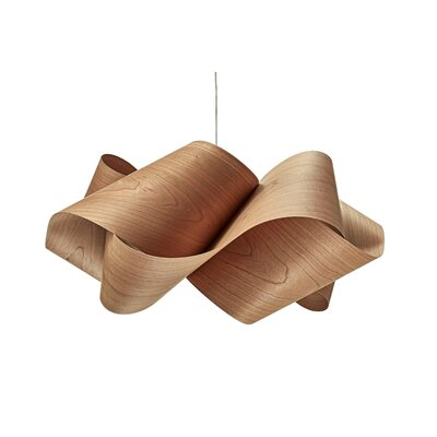 Swirl 1-Light Pendant Shade Color: Natural Cherry, Finish: Brushed Nickel, Bulb Type: E26