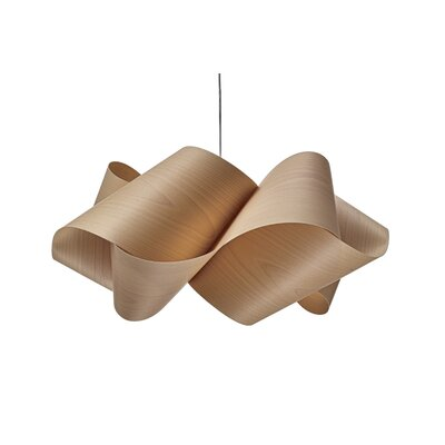 Swirl 1-Light Pendant Shade Color: Natural Beech, Finish: Brushed Nickel, Bulb Type: GU24