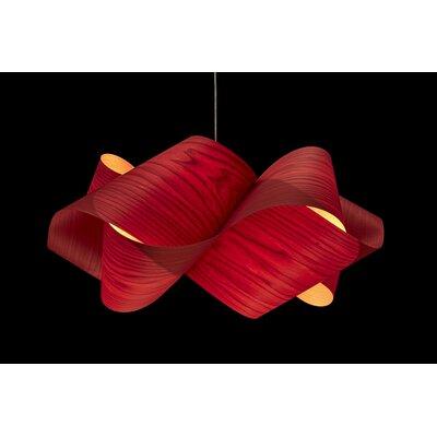Swirl 1-Light Geometric Pendant Finish: Brushed Nickel, Shade Color: Red