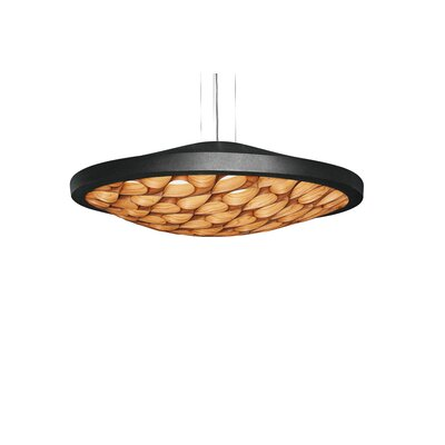 Cervantes LED Geometric Pendant Base Finish: Matte Black, Shade Color: Natural Beech