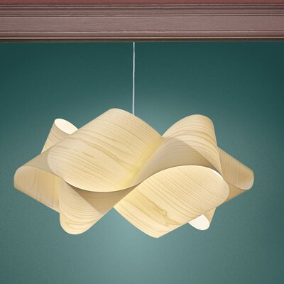 Swirl 1-Light Pendant Shade Color: Ivory White, Finish: Brushed Nickel