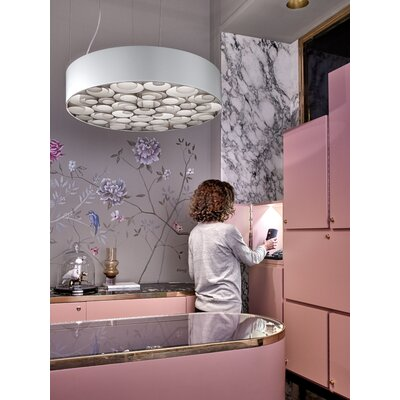 Spiro 10-Light LED Drum Pendant Shade Color: Grey