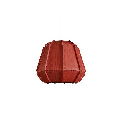 Conkle Stitches 1-Light Geometric Pendant Shade Color: Red, Bulb Base: GU24