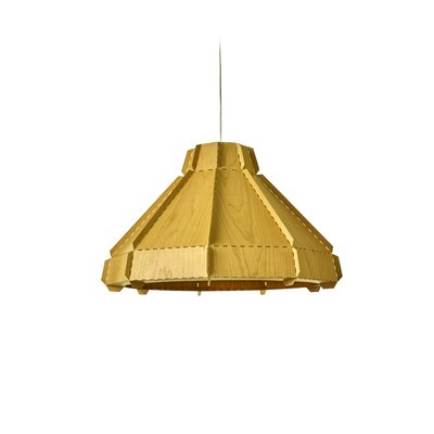 Backes Stitches 1-Light Inverted Pendant Shade Color: Yellow, Bulb Base: GU24
