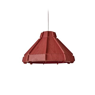 Backes Stitches 1-Light Inverted Pendant Shade Color: Red, Bulb Base: GU24
