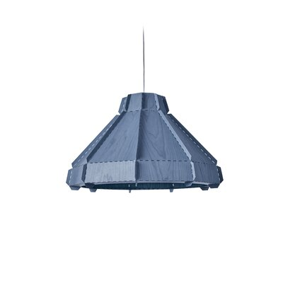 Backes Stitches 1-Light Inverted Pendant Shade Color: Blue, Bulb Base: GU24