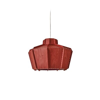 Beran Stitches 1-Light Inverted Pendant Shade Color: Red, Bulb Base: GU24