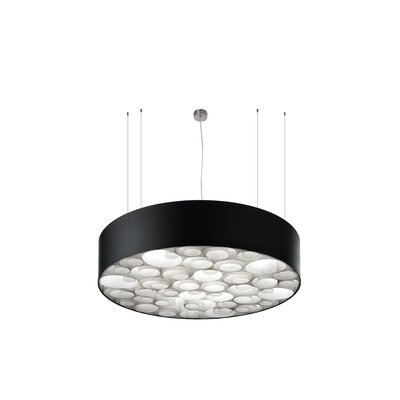 Spiro 4-Light Drum Pendant Shade Color: Black, Interior Shade Color: Ivory White, Ballast: Multivolt