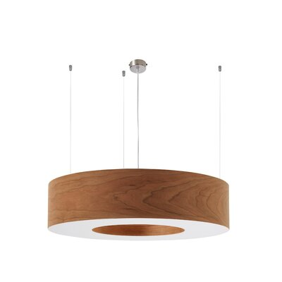 Saturnia 6 LED Integrated Bulb Drum Pendant Shade Color: Natural Cherry