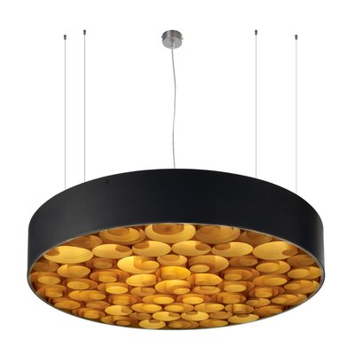 Spiro 9 LED Integrated Bulb Drum Pendant Shade Color: Orange