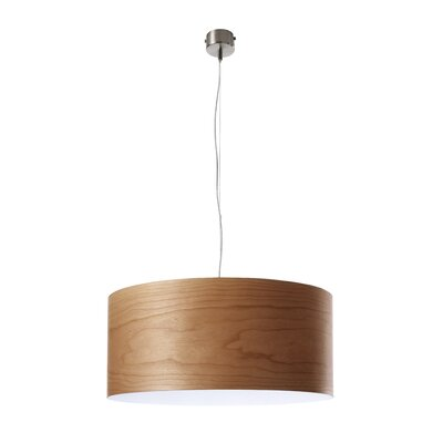 Gea 1-Light Drum Pendant Finish: Natural Cherry, Size: Small, Bulb Type: GU24 Base
