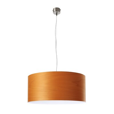 Gea Drum Pendant Size: Small, Bulb Type: GU24 Base, Finish: Orange