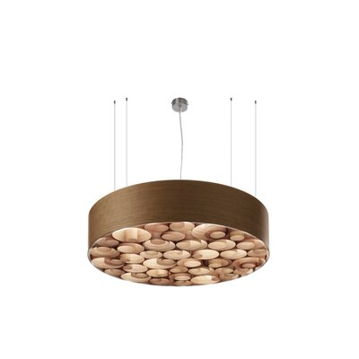Spiro 4-Light Drum Pendant Shade Color: Natural Cherry, Interior Shade Color: Natural Cherry, Ballast: Multivolt