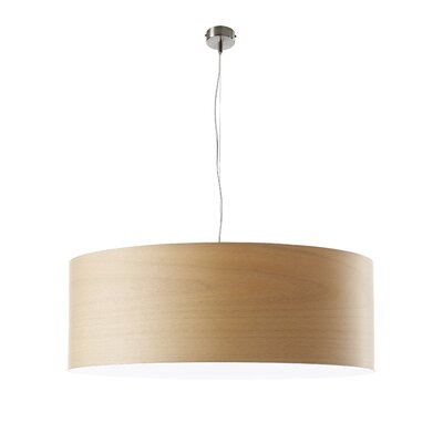 Gea Drum Pendant Bulb Type: GU24 Base, Finish: Natural Beech, Size: Large