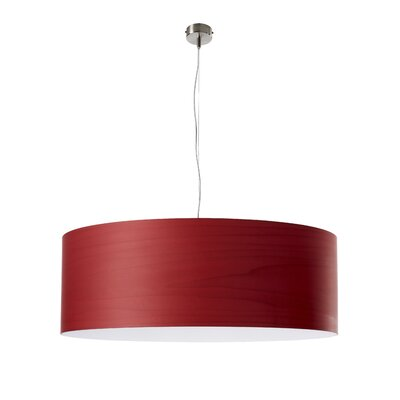 Gea Drum Pendant Finish: Red, Bulb Type: E26 Base, Size: Large