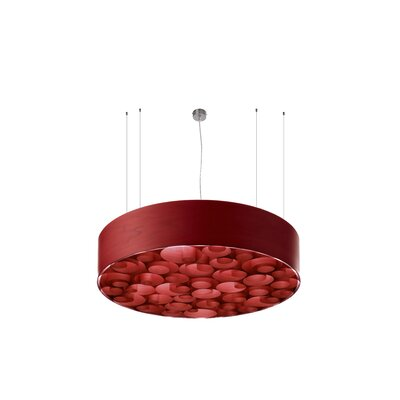 Spiro 4-Light Drum Pendant Shade Color: Red, Interior Shade Color: Red, Ballast: Multivolt