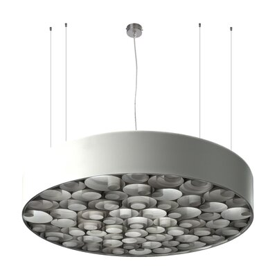 Spiro 9 LED Integrated Bulb Drum Pendant Shade Color: Grey