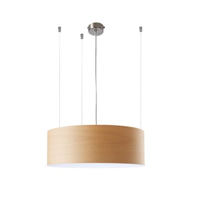 Gea 1-Light Drum Pendant Finish: Natural Beech, Ballast: Multivolt