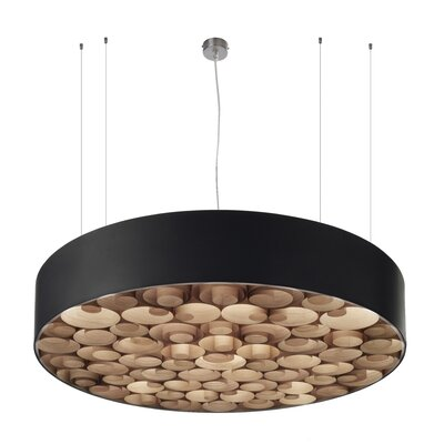 Spiro 9 LED Integrated Bulb Drum Pendant Shade Color: Natural Cherry