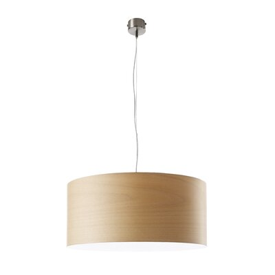 Gea Drum Pendant Size: Small, Bulb Type: GU24 Base, Finish: Natural Beech
