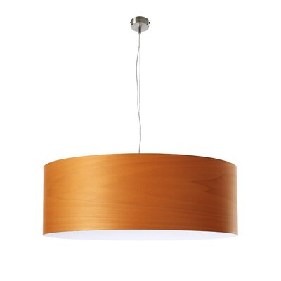 Gea Drum Pendant Finish: Orange, Bulb Type: E26 Base, Size: Large