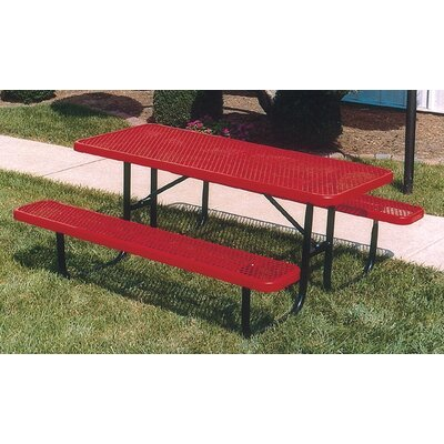 Extra Heavy Duty Picnic Table Finish: Black/Red, Table Size: 6