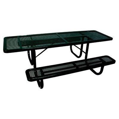 Extra Heavy Duty ADA Picnic Table with Perforated Pattern Finish: Black/Black
